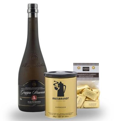 [Set] Grappa Stravecchia Magnoberta + Espresso + Gianduiotti online kaufen bei Kaffee Rauscher