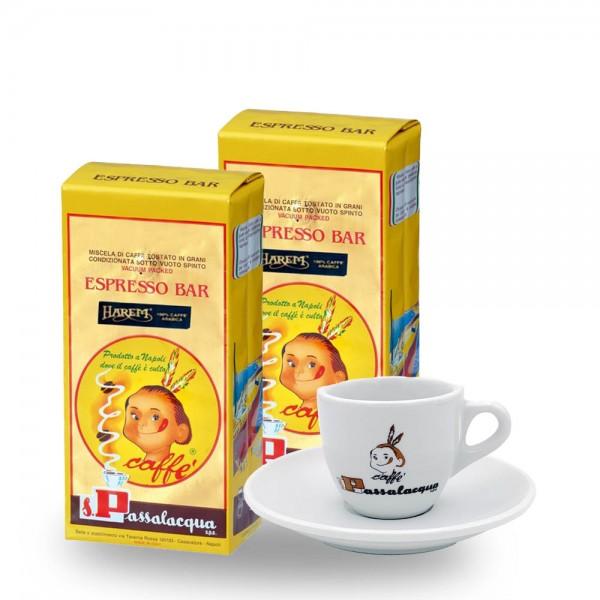 Passalacqua Harem Espresso Bar 2 x 1.000g Bohnen plus Tasse online kaufen bei Kaffee Rauscher