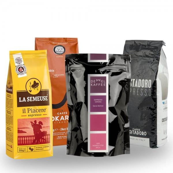Probierset Espresso al'italiano 4 x 250g Bohnen online kaufen bei Kaffee Rauscher
