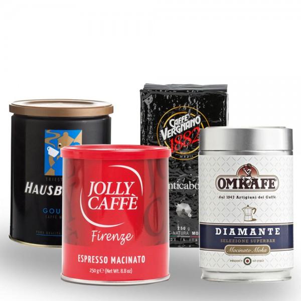 Probierset Espresso für Herdkocher 4 x 250g gemahlen online kaufen bei Kaffee Rauscher